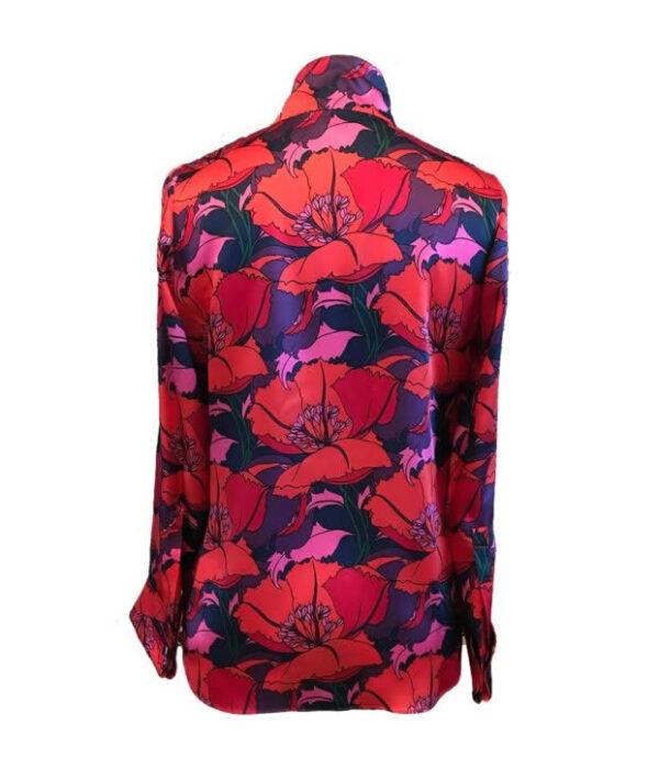 NCM Bähr Theodora Designer Bluse Seidenbluse mit Mohnblumen Print rot