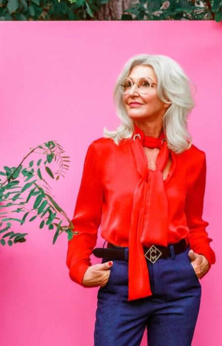 NCM Bähr Theodora Designer Seidenbluse rot Schluppenbluse