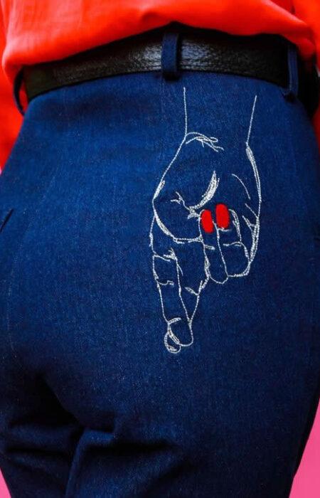 NCM Bähr Theodora Designer ausgestellte Jeans mit Stickerei