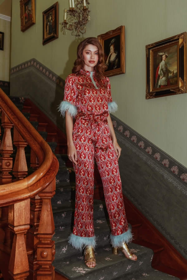 NCM Bähr Ophelia Designer Hose mit Federn Seide rot mintgrün