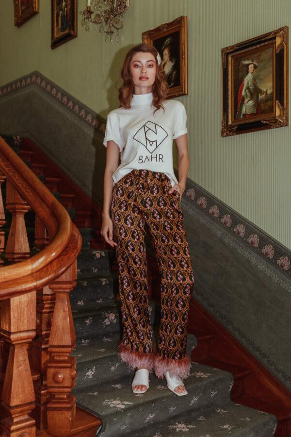 NCM Bähr Ophelia Designer Hose mit Federn rose