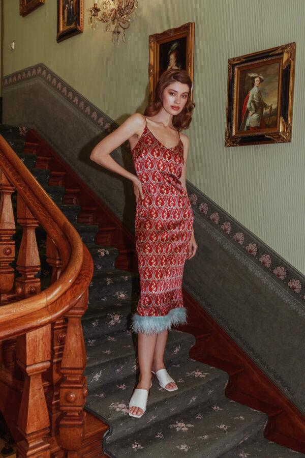 NCM Bähr Ophelia Designer Seidenkleid Slipdress mit Federn