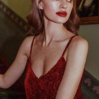 NCM Bähr Ophelia Designer Kleid Slipdress aus Samt dunkelrot