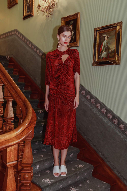 NCM Bähr Ophelia Designer Kleid Samt dunkelrot