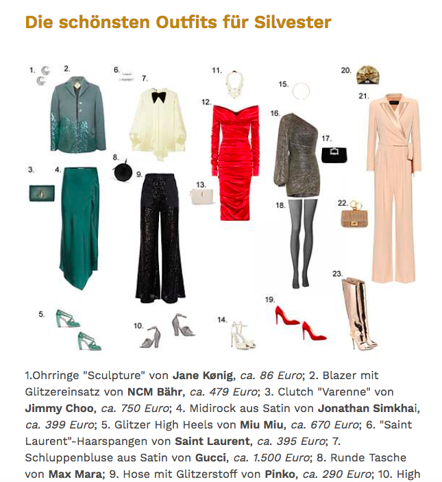 Madame Silvester Outfits perfekte Silvester Look