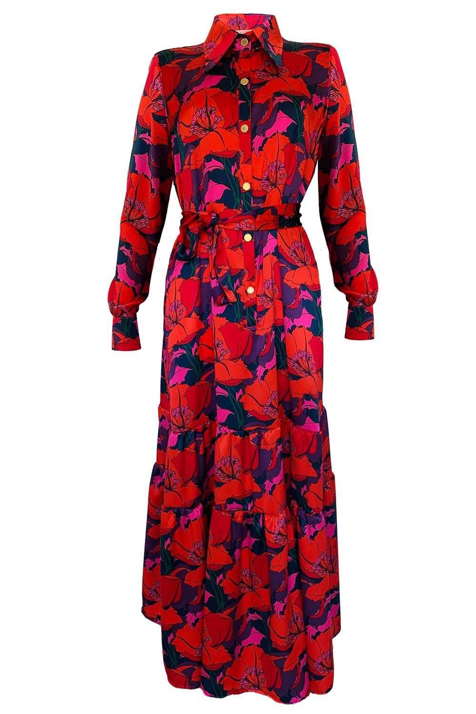 Maxikleid Blusenkleid Seide mit Blumen Print Designerkleid